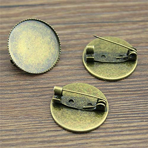 - Kamas 10pcs Fit 20mm 25mm Glass Cabochon Vintage Antique Bronze Color Copper Material Sawtooth Brooch Base Jewelry Findings - (Size: 25mm)