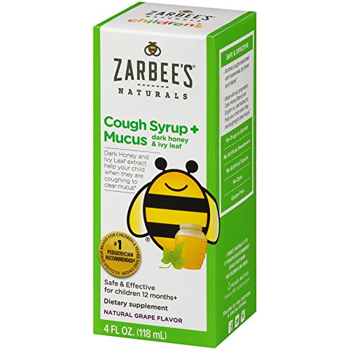 Zarbee's Naturals Children's Cough Syrup, Grape + Mucus Relief, 4 Fl Ounce (Dry Syrup Cough)