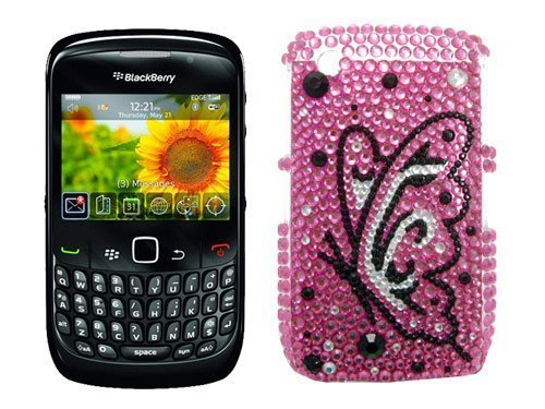 utterfly Diamante Case for Blackberry 8520 Curve ()