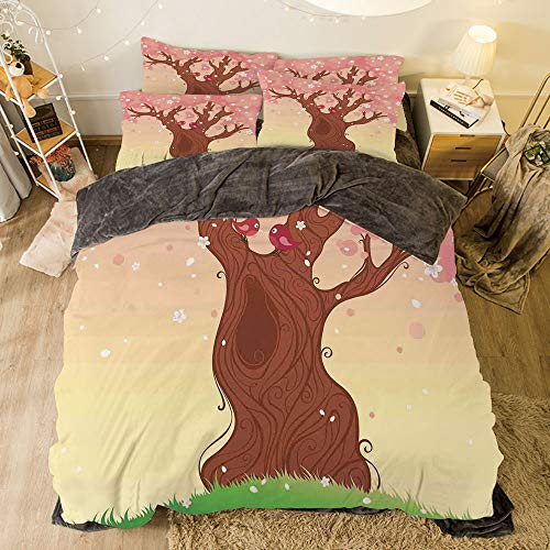 Flannel 3D Printed 4 Pieces on The Bed Duvet Cover Set for Bed Width 6.6ft Pattern by,House Decor,Landscape Childish Cartoon Art with Tree Love Birds Falling Flowers Grass Pattern,Pink Brown Green