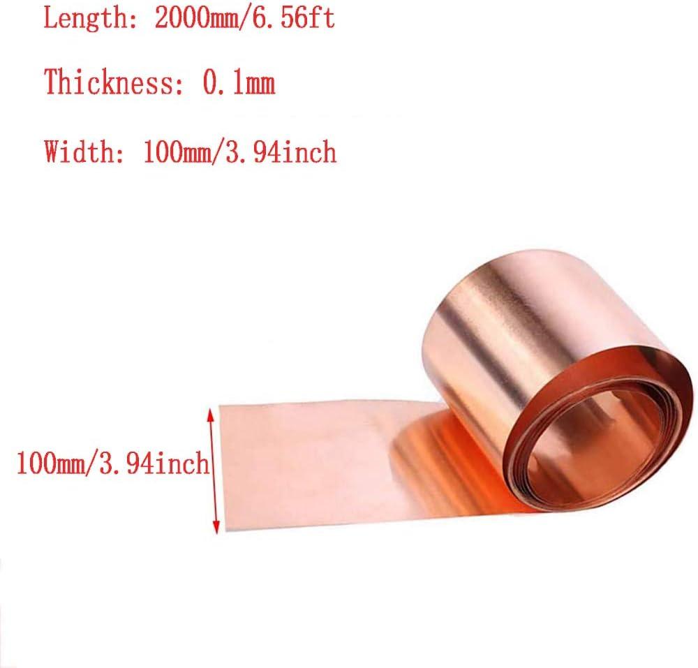 Asitlf 99.9/% Pure Copper Cu Sheet Foil Roll DIY T2 Copper Metal Crafts Plate 100mmx2000mm,Thickness 1mm