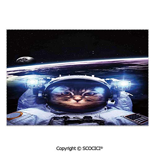 SCOCICI Set of 6 Printed Dinner Placemats Washable Fabric Placemats Funny Astronaut Cat Above Earth in Outer Space Explorer Kitty Mission Humor Art Image for Dining Room Kitchen Table Decoration ()