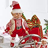 "Raz 16"" Red and White Striped Posable Elf Christmas Figure 3902549"