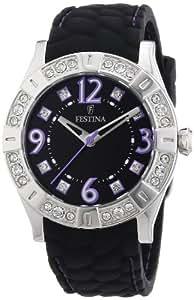 Festina F16541/8 - Reloj analógico de cuarzo para mujer con correa de caucho, color negro