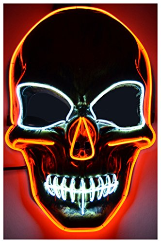 GlowCity Light Up Skull Mask-Uses El Wire (Red Skull (Not So Scary Halloween Movies)