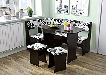 FIJI Kitchen Nook Dining Table Set L Shaped Storage Bench