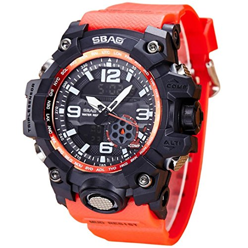 Waterproof Watch Sports Watches Shock Digital Electronic Wristwatch (Red) (Leather Square Analog)