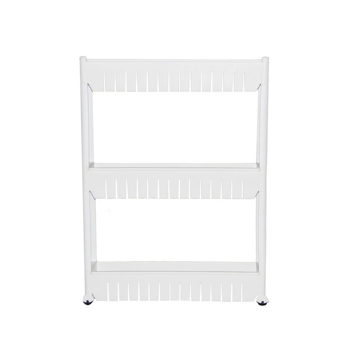 Honor Jojoba Slide Out Storage Tower 3 Tier Kitchen Storage Rack Bathroom Shelf with Wheels White XHM
