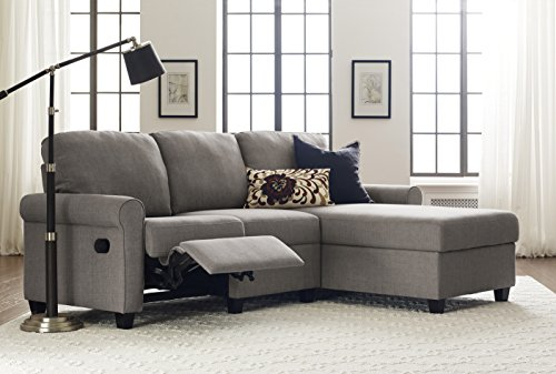 Modern Reclining Sofa (Serta Copenhagen Reclining Sectional with Right Storage Chaise - Moonlight Gray)
