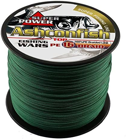 Ashconfish Braided Fishing Line-16 Strands Hollow Core Fishing Wire 100M 109Yards- Abrasion Resistant Incredible Superline Zero Stretch Ultrathin Diameter Woven Thread