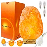 Lotous (8-13 lbs,7-10in) Large Pink Himalayan Salt Lamp Lights, Himalayan Salt Table Lamp Premium Bamboo Base Touch Dimmer Switch Control and 1 Salt Night Light, Set of 2 Pack Salt Candle Holder