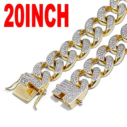 AOVR Hip Hop Men's 10-28mm Miami Chain 18K Gold Plated Fully Iced-Out CZ Crystal Bling Bling Necklace (13mm Gold 001, 20) ()