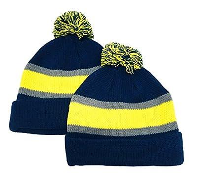 N'Ice Caps Big Kids Sports Fan 2 Ply Lined Knit Winter Hats - 2 Piece Packs