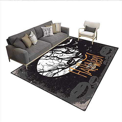 Floor Mat,Halloween Themed Image with Full Moon and Jack o Lanterns on a Tree,19393D Printing Area Rug,Black White 6'x8'
