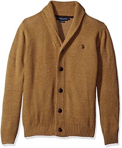 U.S. Polo Assn. Men's Seed Stitch Texture Shawl Cardigan Sweater, Alpaca Heather, Large Cardigan Logo Sweater
