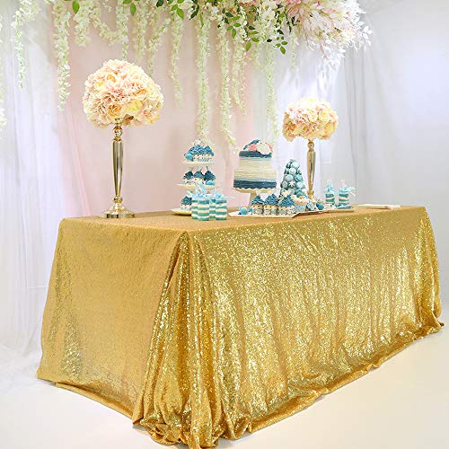TRLYC 60 x 120-Inch Rectangular Sequin Tablecloth Gold ()