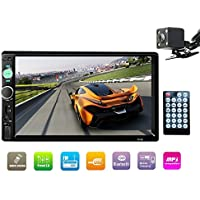 E-WOR Double Din Stereo,7 In-Dash Touchscreen Stereo with Bluetooth/Rear View Camera/FM Tuner and HD Radio Fit for 12V Voltage (No DVD & GPS Navigation)
