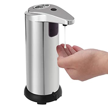 Dispensador para Jabón Automático tapcet 280 ml Dispensador de jabón Sensor de manos libres Touchless acero inoxidable con base impermeable para la cocina y ...