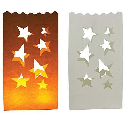 Just Artifacts Paper Luminary Bags for Decorative and Path Lighting (20pc, Stars)