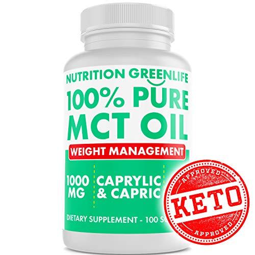 100% Pure MCT Oil – Keto Fat Loss Medium Chain Triglycerides – HIGH Absorption – Coconut Oil – Caprylic Acid & Capric Acid – Ketogenic Fat Burner Supplement 100 Softgels