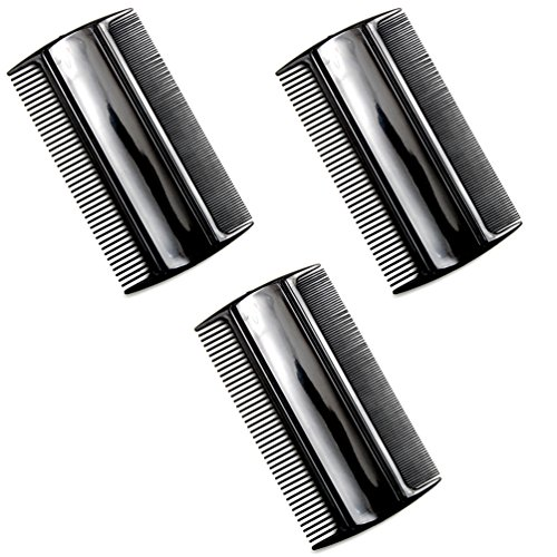Favorict (3 Pack) 3.5″ Pocket Hair Comb Beard & Mustache 2 Sides Combs for Men's Hair Beard Mustache and Sideburns (Black)