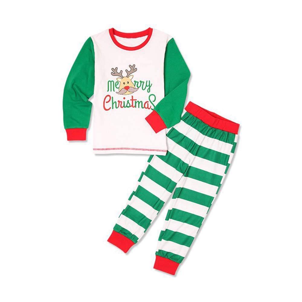 Family Matching Christmas Pajamas Reindeer Print Long Sleeve Tops Stripe Pants Sleepwear Set Xmas Homewear