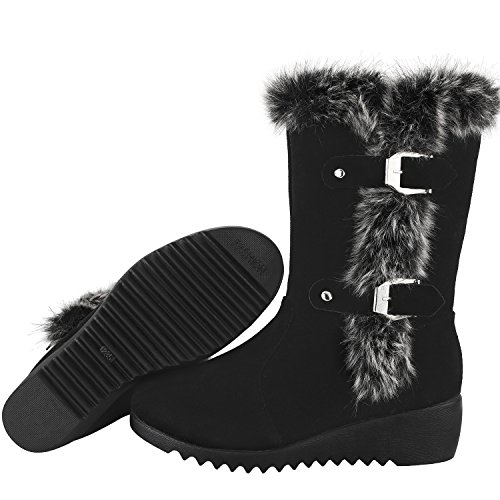 Boots Closure new Winter Womens Outdoor Zipper Black Boot Snow nYBFaqzx