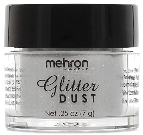 Mehron Makeup Glitter Dust Face & Body Paint, OPALESCENT WHITE- .25oz