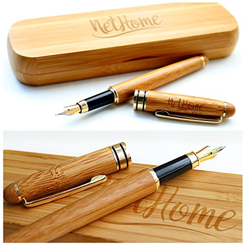 Nethome Fountain Pen - Superb Handcrafted Bamboo Pen Collection - Luxurious & Expressive Writing Tool - Created Meticulously with Eco Friendly Material - Built to Last for Decades - Perfect - Hit Coupon Code