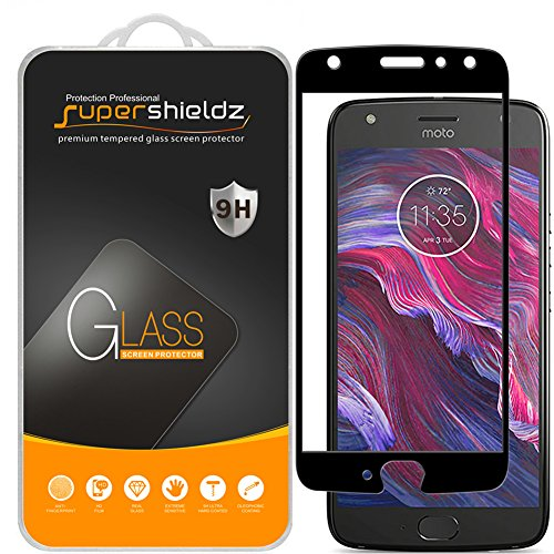 Supershieldz (2 Pack) for Motorola Moto X4 and Moto X (4th Generation) Tempered Glass Screen Protector, (Full Screen Coverage) Anti Scratch, Bubble Free (Black)