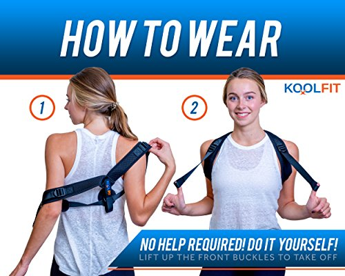 KOOLFIT Back Posture Corrector – Adjustable Back Brace Corrector for Men and Women – Shoulder Pain Relief – Comfortable and User-Friendly – Supports Fast Injury Recovery – Prevents Hunching, Slouching by KOOLFIT (Image #4)