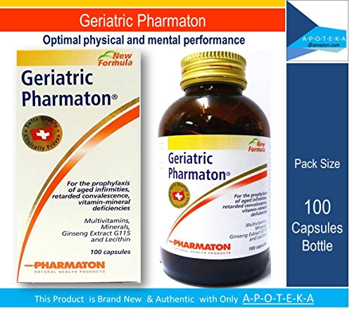 Pharmaton Geriatric (Pack Size 100 Capsules) Once Daily Multivitamins + Minerals + Ginseng Extract G115 and Lecithin for the Optimal Physical and Mental Performance, Ageing Concentration Memory, Prophylaxis of Aged Infirmities and Retarded Convalesce