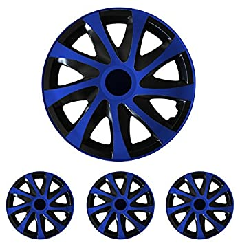 Tapacubos - Tapacubos Tapacubos DRACO Azul 15 pulgadas 15? R15 universal apto para casi todos los vehículos estándar con llantas de acero por ejemplo Skoda: ...