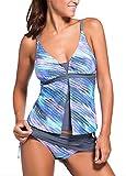 amazon prime womens bathing suits - Sankill Women's Colorblock Two Pieces Swimsuit Tankini Sets Tankini Top Skort Bottom Swimwear, Blue, (US SIZE 12-14) L