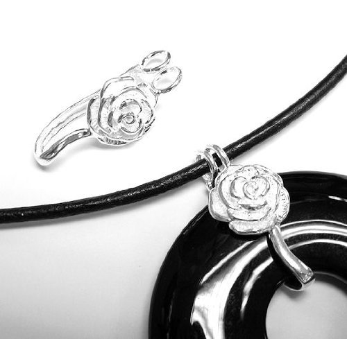1 pc .925 Sterling Silver Bail Rose Donut Holder Changeable Pendant Connector Clasp Slider/Findings/Bright
