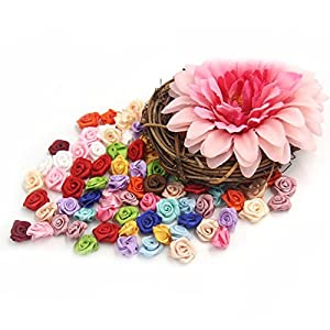 SODIAL 100PCS/Lot Mini Handmade Satin Ro Ribbon Rottes Fabric Flower Appliques For Wedding Decoration Craft wing Accessories 4