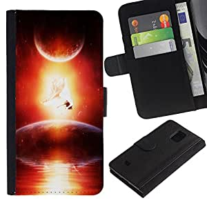 KingStore / Leather Etui en cuir / Samsung Galaxy S5 Mini, SM-G800 / Universo Cosmos Space Ship Arte extranjero Planet