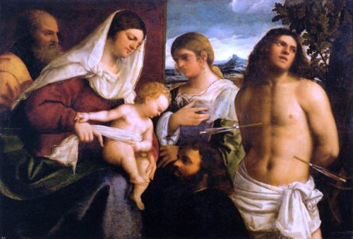 Sebastiano Del Piombo The Holy Family with St Catherine St Sebastian and a Donor - 24'' x 36'' 100% Hand Painted Oil Painting Reproduction by Art Oyster