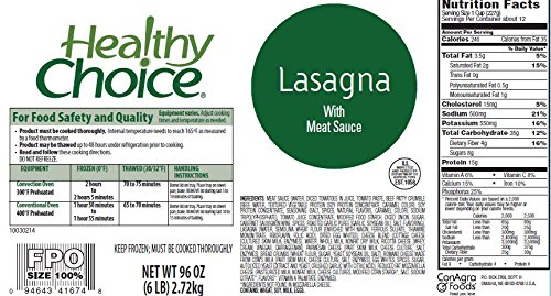 Healthy Choice Lasagna w/ Meat Sauce, 96 oz. (Pack of 4) by Healthy Choice