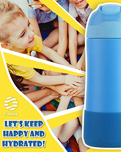FJbottle 14 oz Kids Insulated Stainless Steel Water Bottle with Straw Lid and Silicone Protective Cover, New Anti-Colic with AirFree Vent Technology Patent Design Care for Kids, BPA Free, Sky Blue