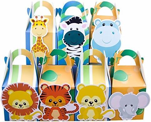 Animales de Safari caja de Favor Candy caja caja de regalo caja para 2 cupcakes BOY niños fiesta de cumpleaños suministros decoración fiesta suministros: Amazon.es: Hogar