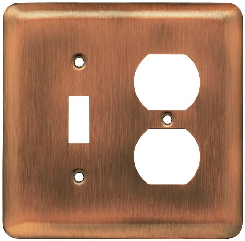 Single Plate Wall Outlet (Franklin Brass 64355 Stamped Steel Round Single Toggle Switch/Duplex Outlet Wall Plate / Switch Plate / Cover, Antique Copper)