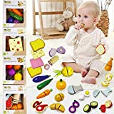 MELIFUN Wooden Play Food Set Pretend Play Breakfast Toys with Sandwich Egg Bread and Crates Early Development Toy for Kids Toddlers Birthday Gifts
