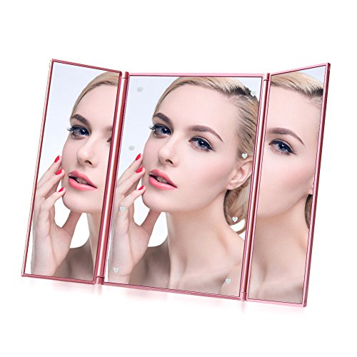 LED Makeup Mirror, Mr.Van Travel Vanity Mirror with 8 LED Lights, Portable Mini Mirror with Batteries (Rose Gold)