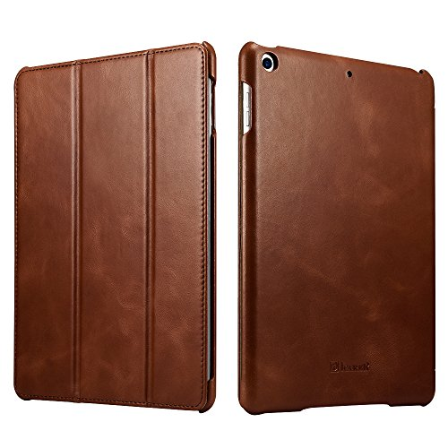 icarercase New iPad 9.7 2018/2017 Case, Vintage Series Genuine Leather Folio Flip Smart Cover Case with Auto Wake/Sleep Function [Magnetic Latch] Kickstand for Apple iPad Air/iPad 5 (Brown)