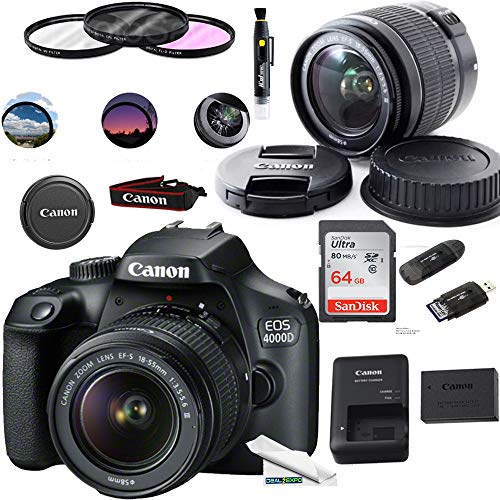 Canon EOS 4000D Digital Camera with EF-S 18-55MM F/3.5-5.6 III Lens + Basic Accessories Bundle (International Version)