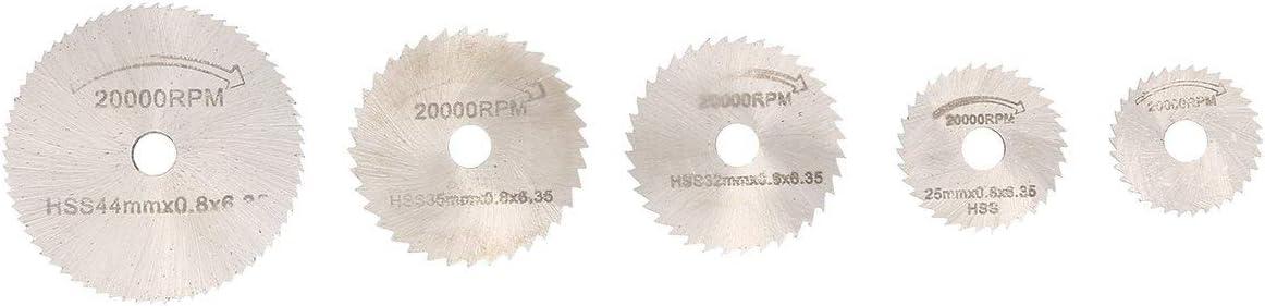 Tree-on-Life 6PCS HSS Hoja de Sierra Circular Herramienta giratoria 22//25//32//35//44 mm Discos de Corte de Madera Taladro Mandril para Cortador de Metal Dremel