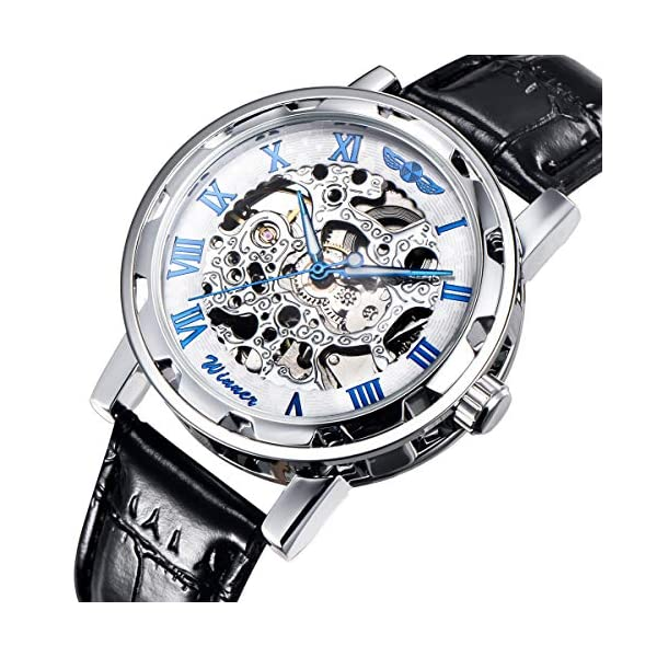 Gute Classic Steampunk Bling Automatic Mechanical Wristwatch See Through Skeleton Automatic Unisex Watch 3