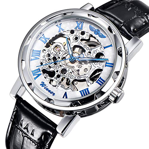 Gute Classic Steampunk Bling Automatic Mechanical Wristwatch See Through Skeleton Automatic Unisex Watch