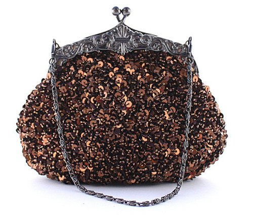Chicastic Fully Sequined Mesh Beaded Antique Style Formal Cocktail Clutch - Brown